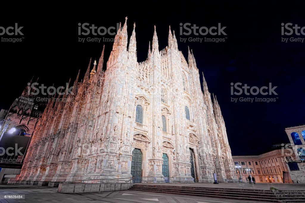 Night of Piazza Duomo in Milan (super wide angle) stock photo