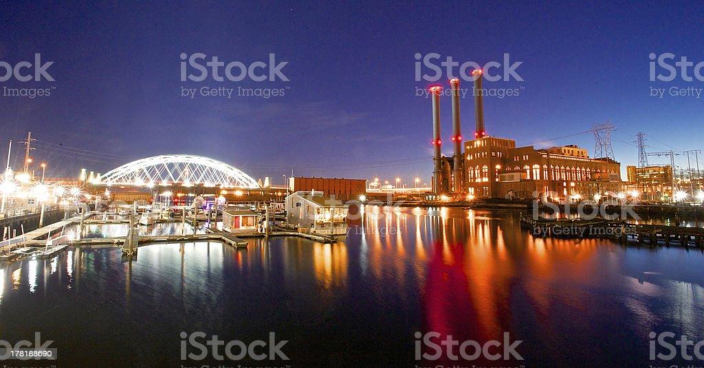 Night of providence bridge water stock photo