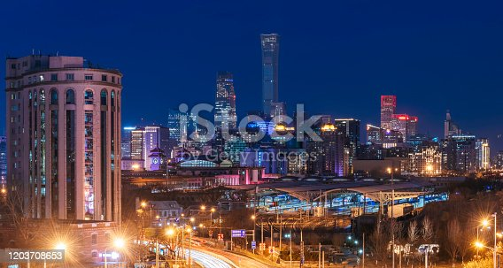 Night on Beijing Central Business district buildings skyline, China cityscape Modern Architecture in beijing cbd