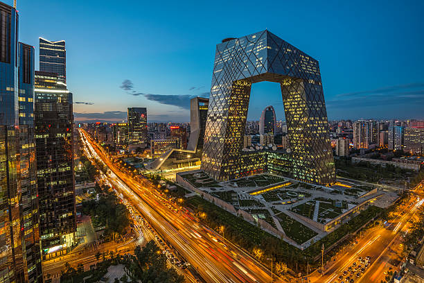 night on beijing central business district buildings skyline, china cityscape - çin cumhuriyeti stok fotoğraflar ve resimler