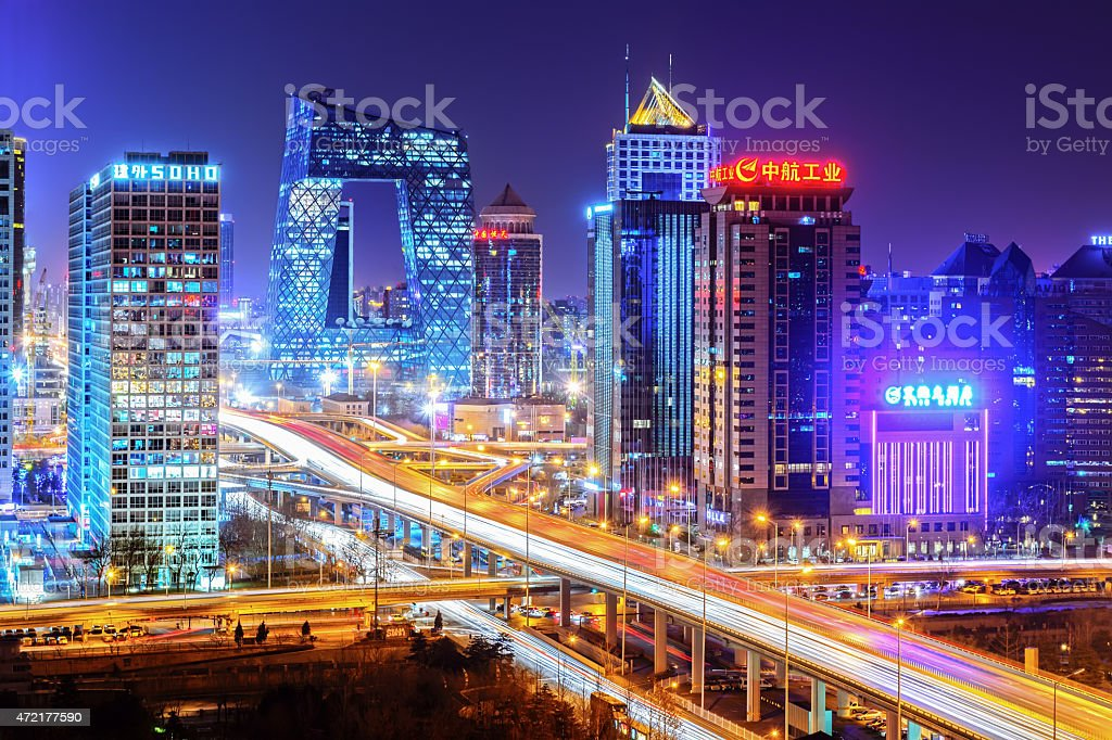 Night on Beijing stock photo