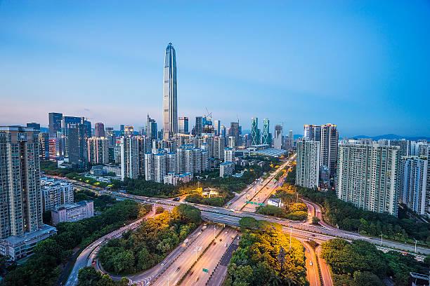 Night on China shenzhen stock photo