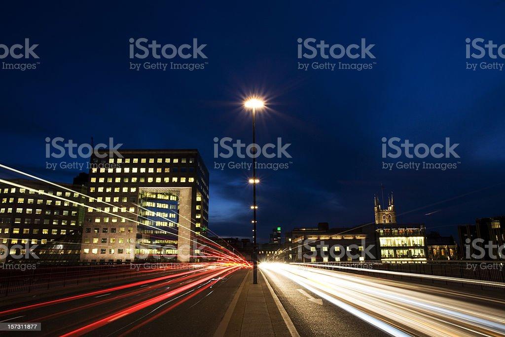 Night on London bridge royalty-free stock photo
