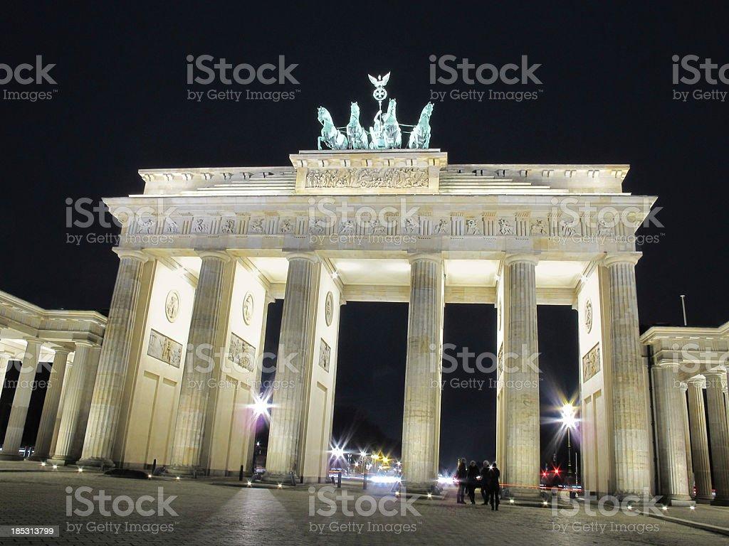 Night on Quadriga Statue at Brandenburg Gate in Berlin royalty-free stock photo