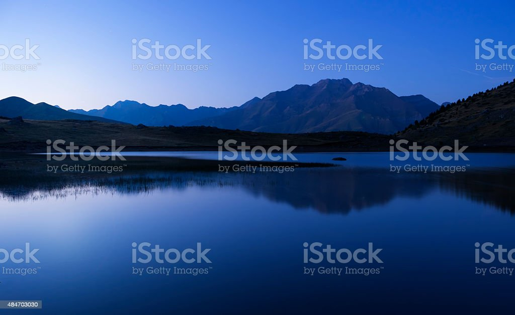 Night on the mountain stock photo