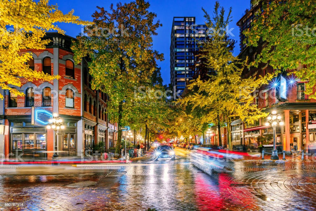 Night on the street in the old part of the big city royalty-free stock photo