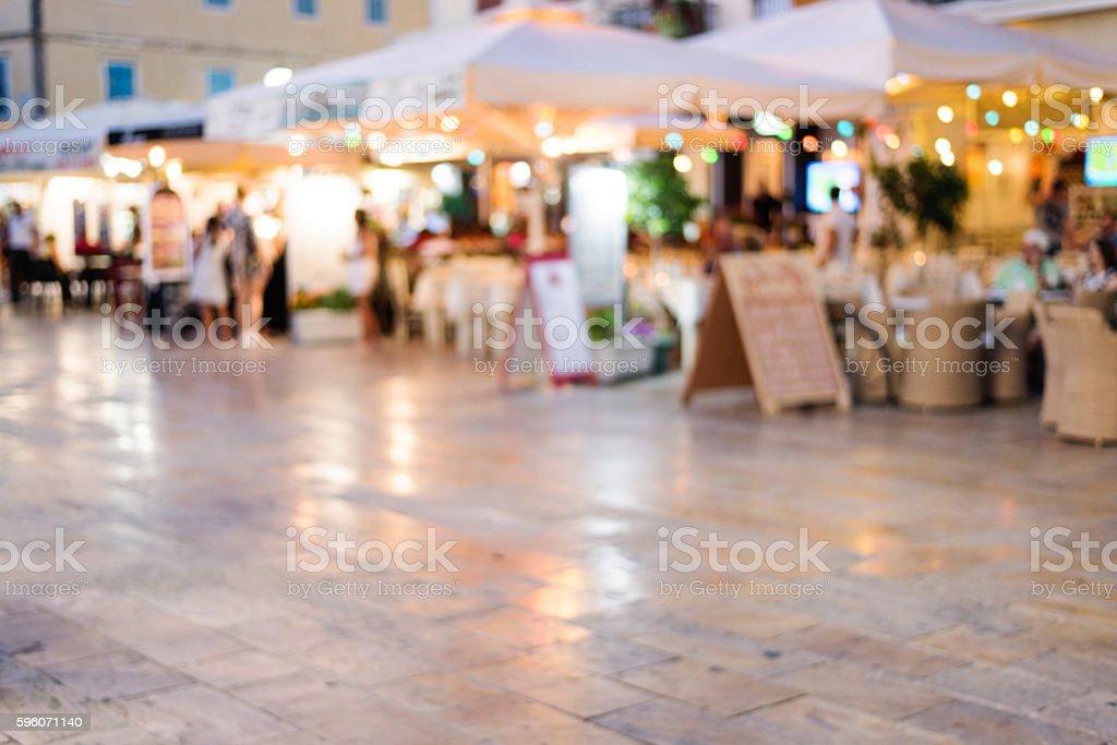 night or evening scene on street full of restaurant royalty-free stock photo