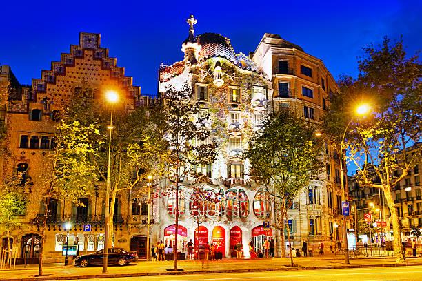 Night outdoor view  Gaudi's  creation-house Casa Batlo. Barcelona, Spain - September 2, 2014: Night outdoor view  Gaudi's  creation-house Casa Batlo. Barcelona. Spain  casa batllo stock pictures, royalty-free photos & images