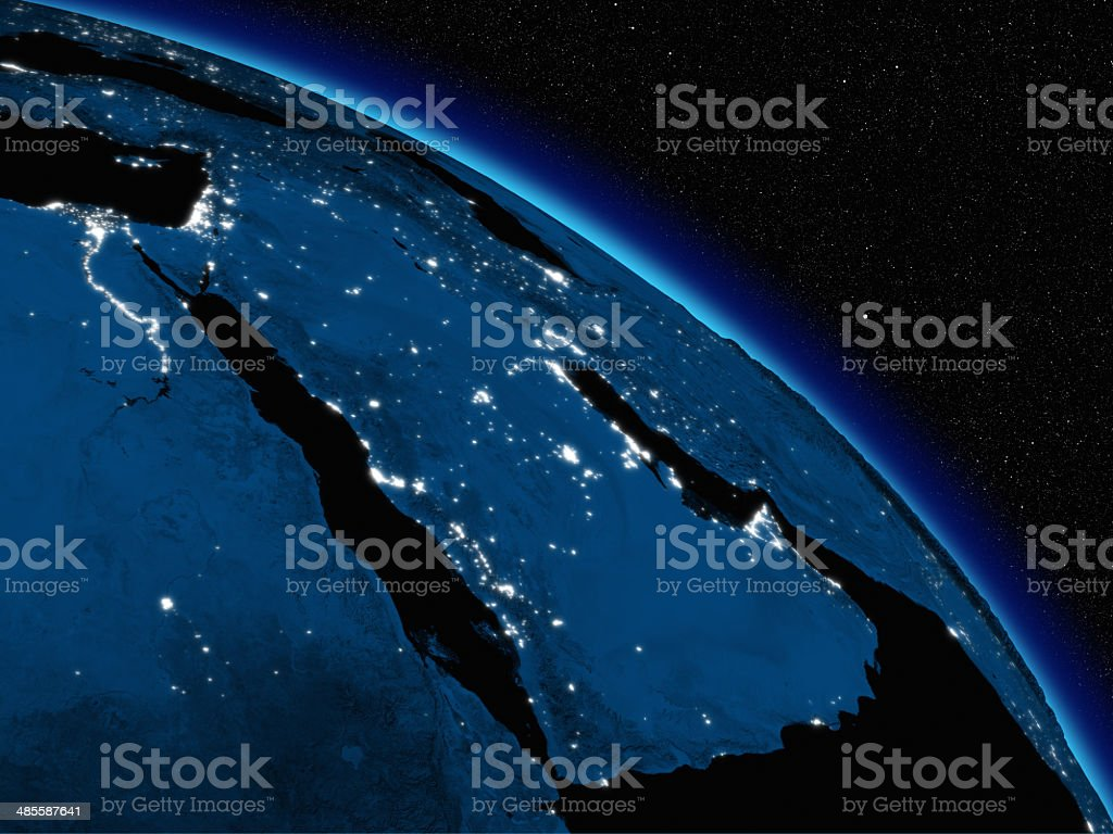 Night over Arabian peninsula stock photo