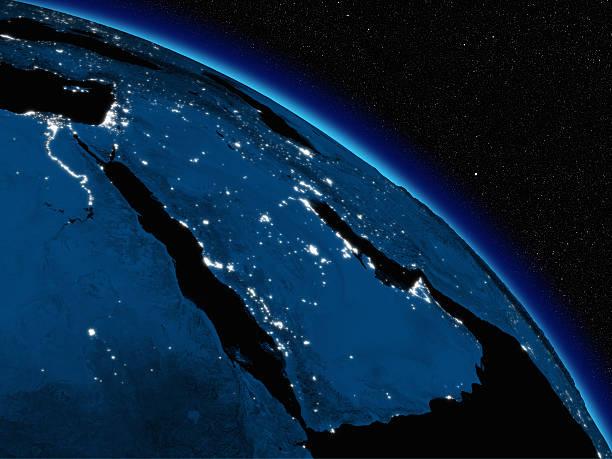 Noche sobre la Península Arábiga - foto de stock