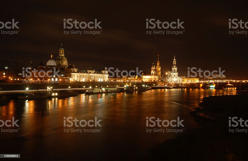 night over cityscape of dresden (Germany) royalty-free stock photo