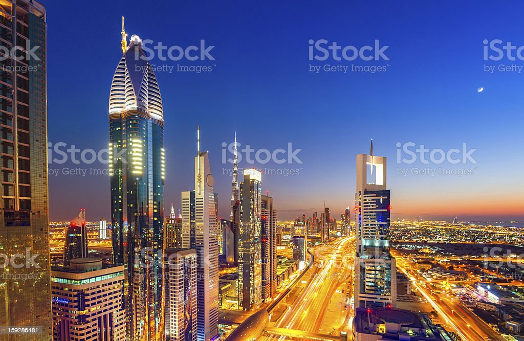 Night over Dubai Megacity royalty-free stock photo
