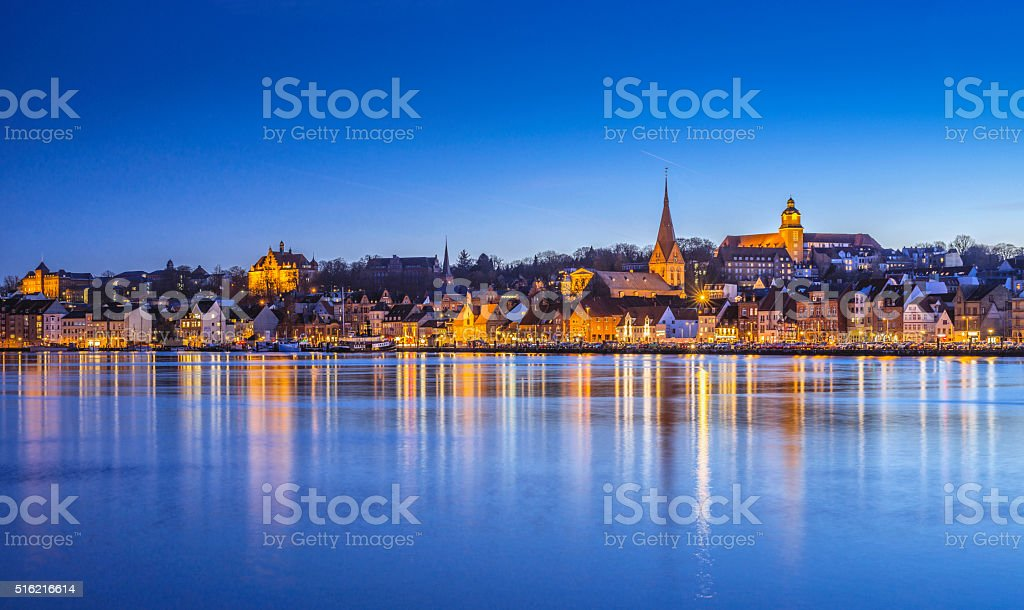 Night over Flensburg and Flensburg Fjord stock photo