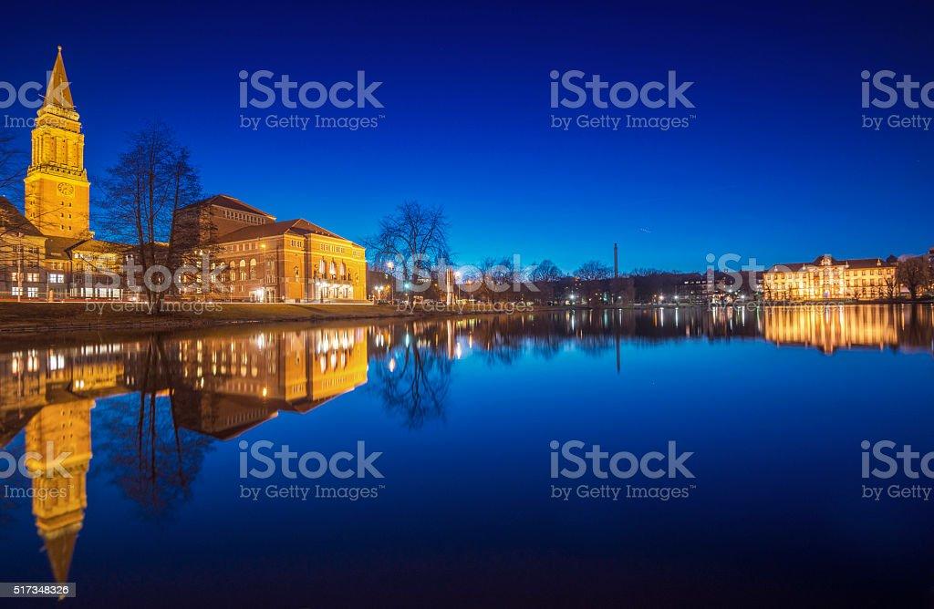 Night over Kiel stock photo