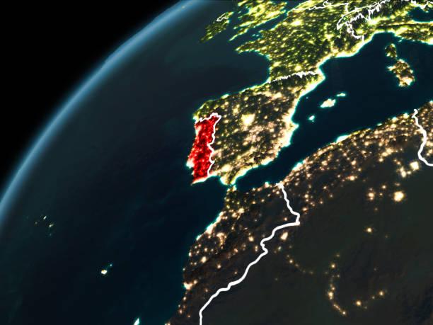 night over portugal - portugal map imagens e fotografias de stock