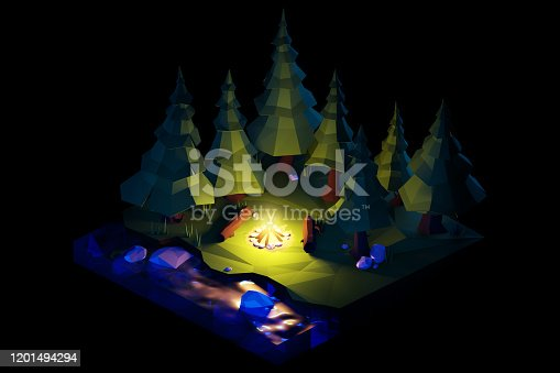 istock Night over the camping bonfire. Isometric low poly composition. 1201494294