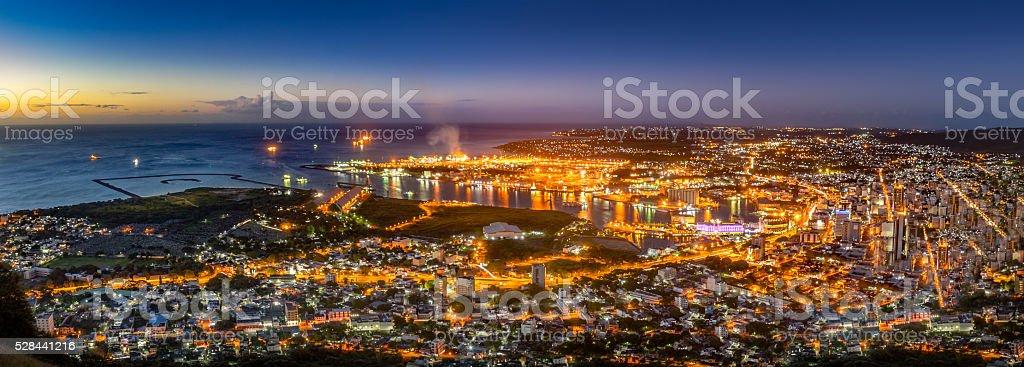Night Panorama, Mauritius stock photo
