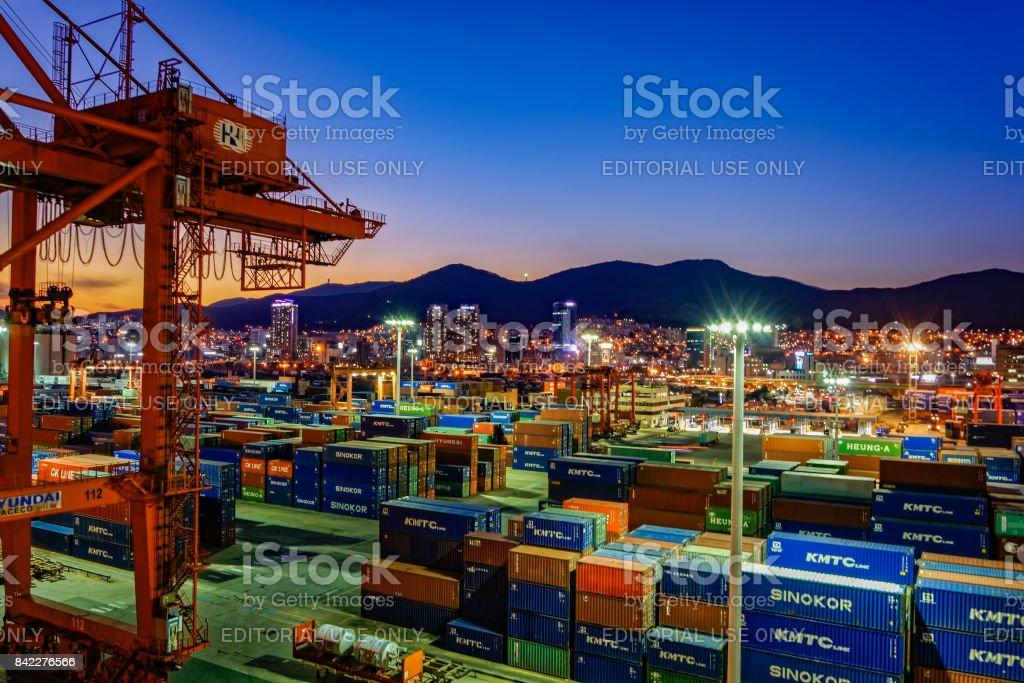Night panorama of Busan port stock photo