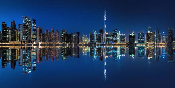 Night panorama of Business bay Dubai stock photo