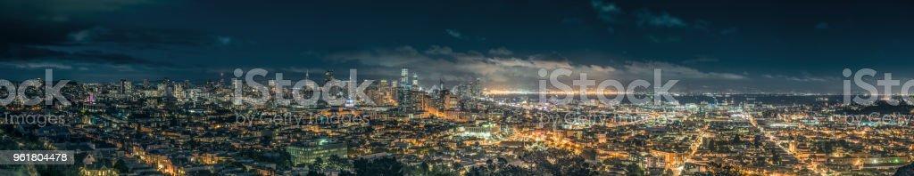 Night panorama of entire San Francisco skyline. stock photo