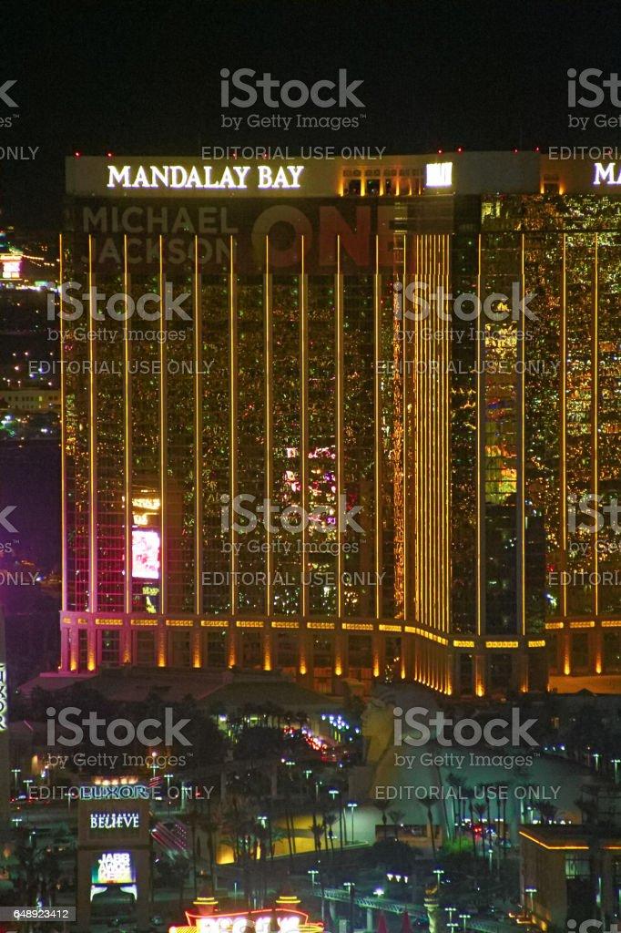 Night Panorama of Las Vegas Boulevard The Strip. stock photo