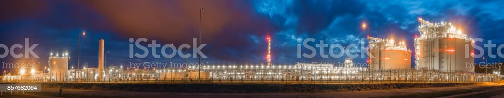 night panorama of lng terminal stock photo