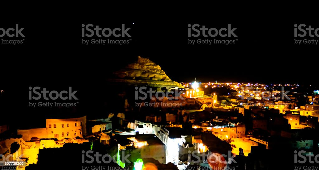 night Panorama of old city Shali and mountain Dakrour, Siwa oasis, Egypt stock photo
