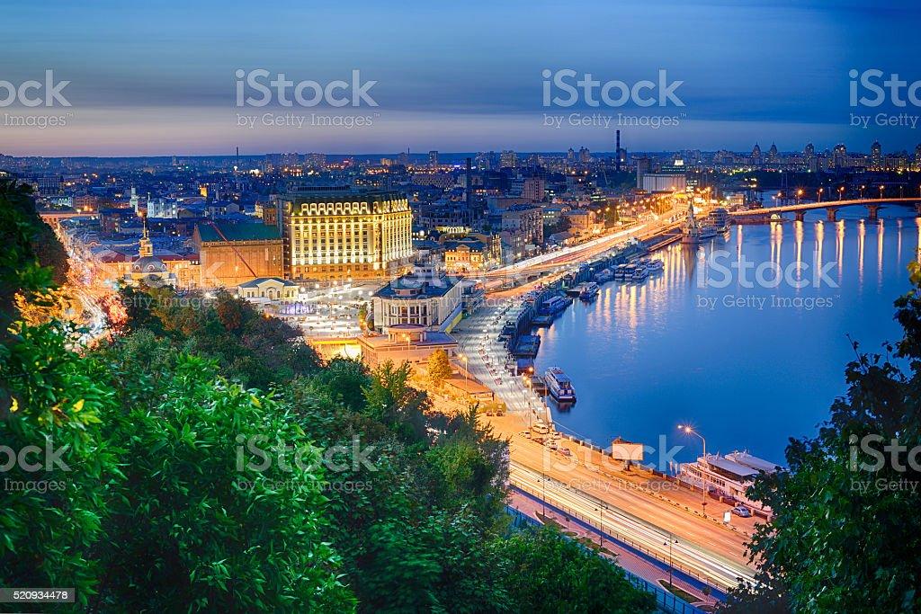 Night panorama of Podol in Kiev stock photo
