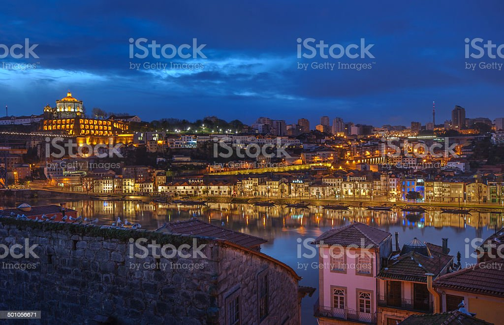 Night panorama of Porto and Vila Nova de Gaia, Portugal stock photo