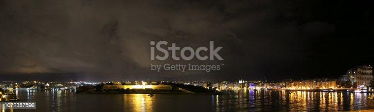 istock Night panorama of Sliema and Manoel island in Malta 1072387596