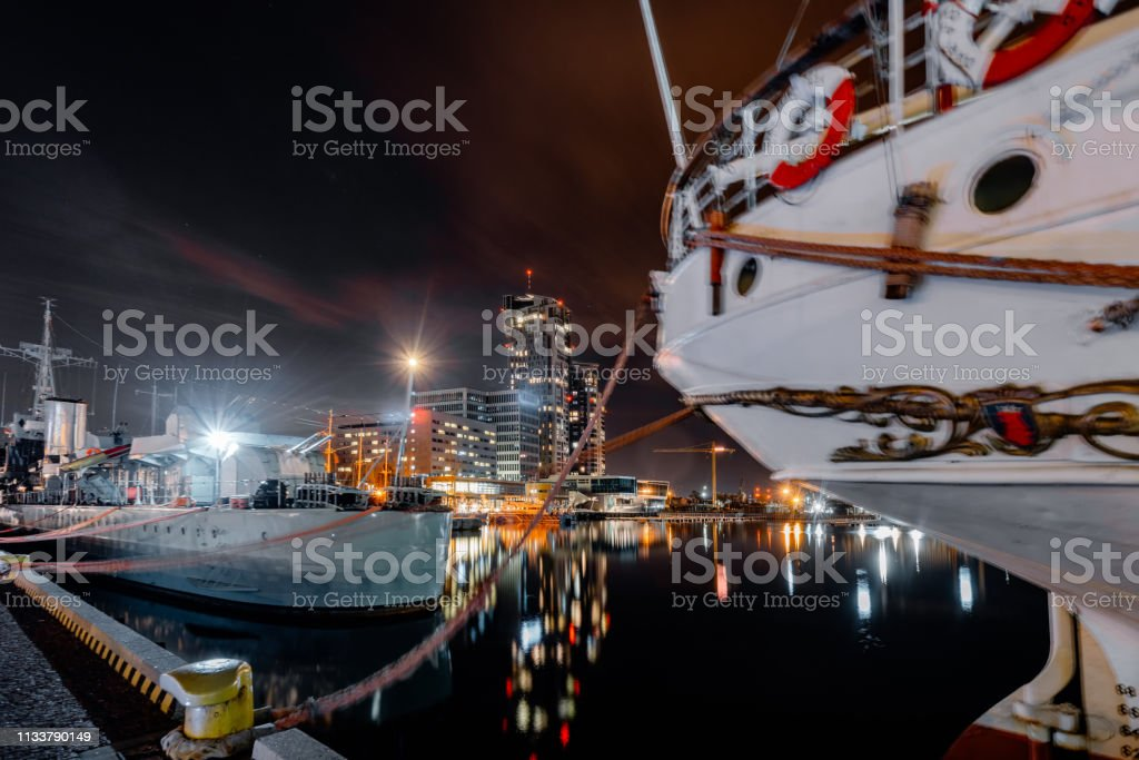 Night panorama on the marine in Gdynia – zdjęcie