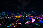 A night panoramic bayarea at the harbour high angle wide shot. New South Wales Sydney / Australia - 01.28.2020 Here is Darling Harbour.