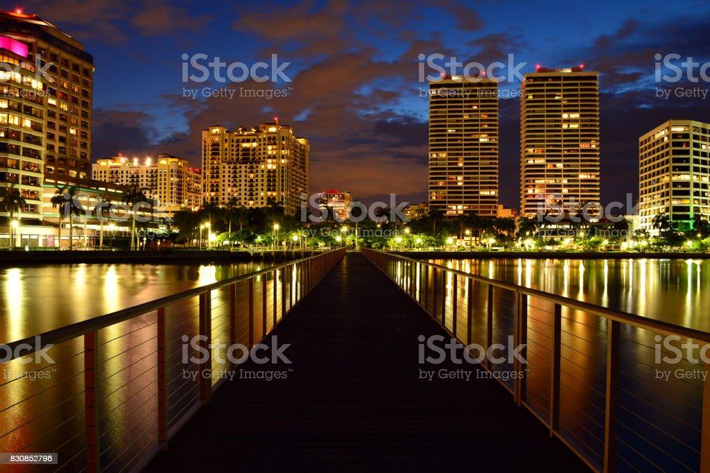 Night Panoramic Photo of West Palm Beach stock photo