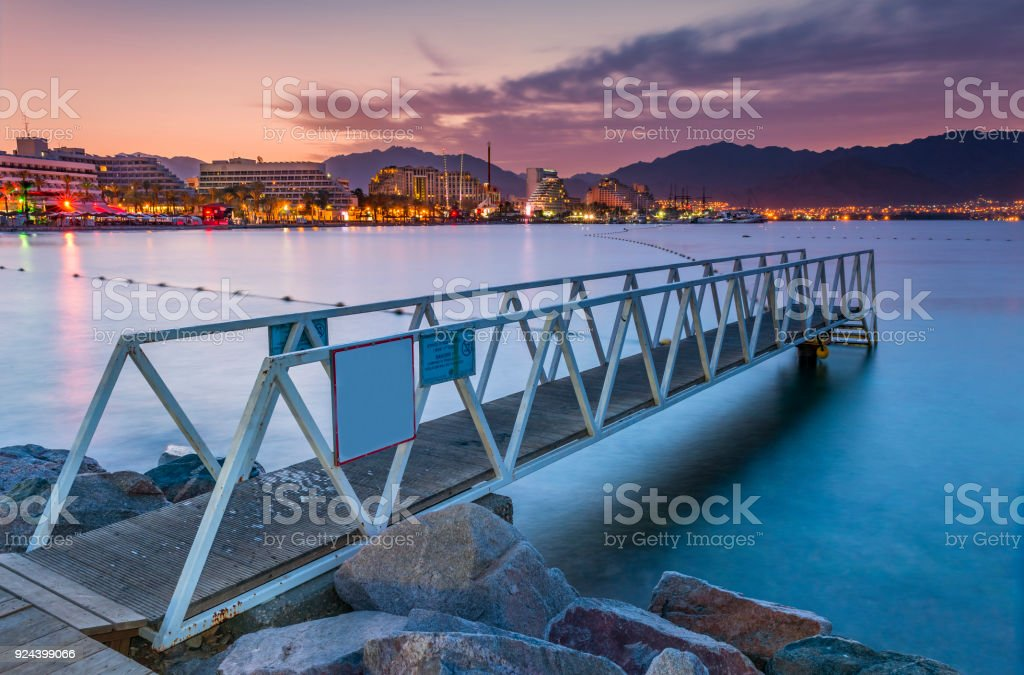 Night panoramic view on the central public beach of Eilat stock photo