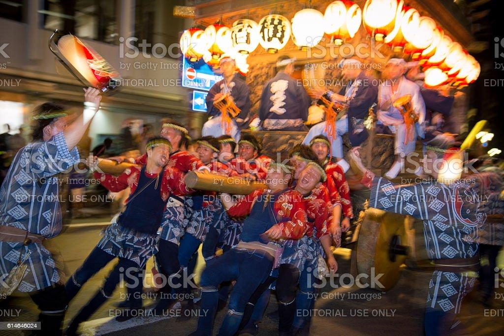 Night parade with huge festival float - Sawara Autumn Festival stock photo