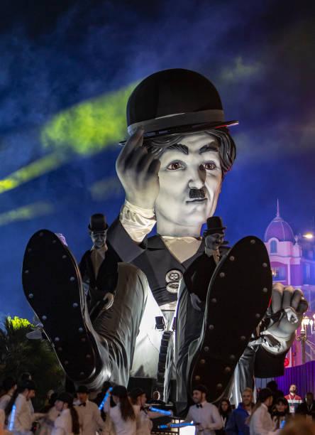 Night Parade-Carnival of Nice 2019 stock photo