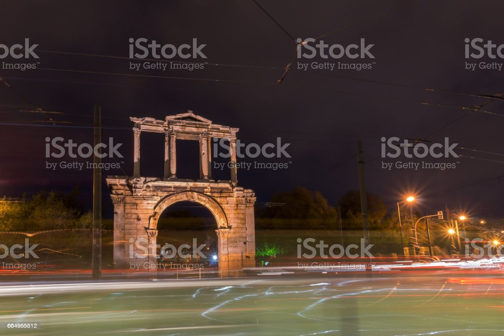 Night photo of Arch of Hadrian in Athens, Greece stock photo