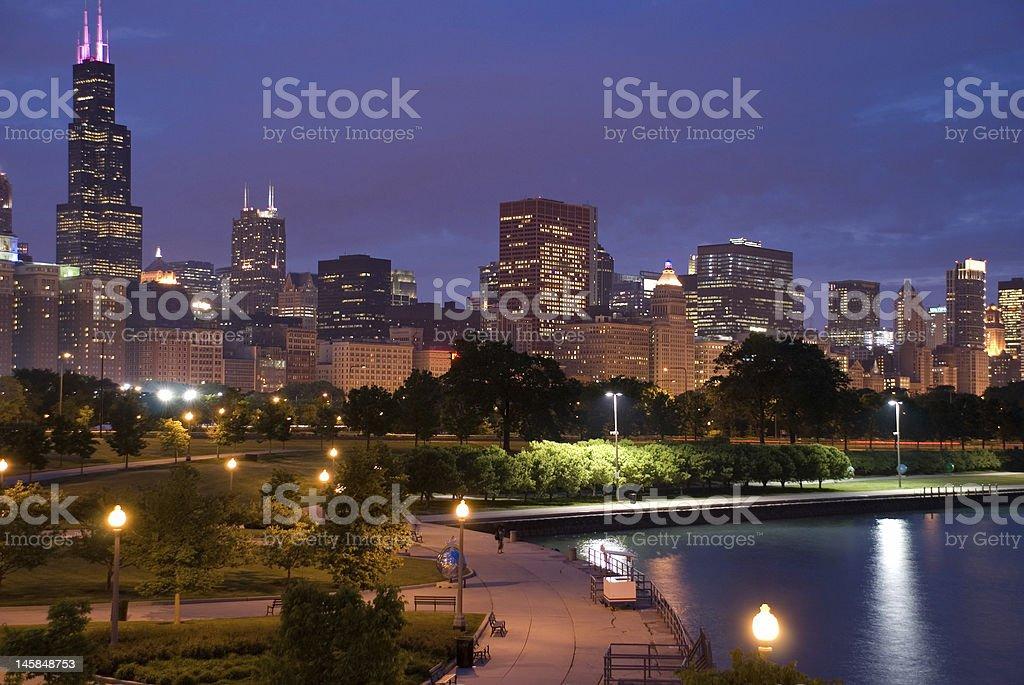 Night photo of downtown, Chicago, Illinois, USA stock photo