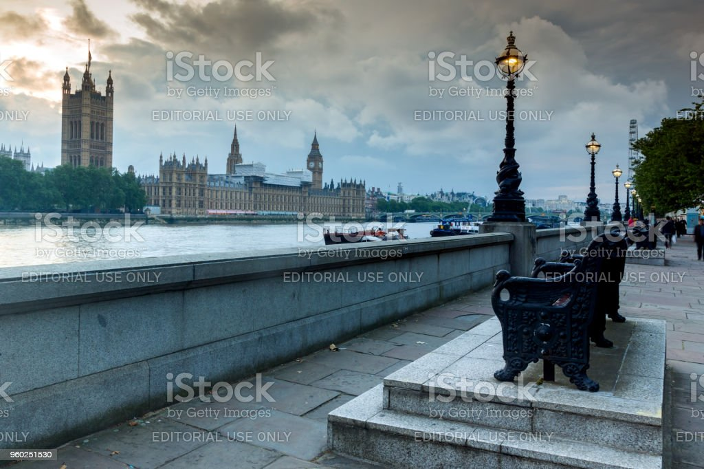 Night photo of Houses of Parliament with Big Ben from Westminster bridge, London, England, Great Britain stock photo
