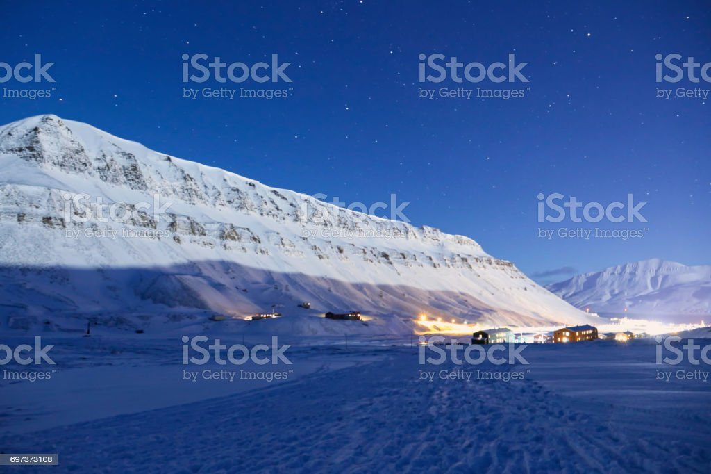 Night photo of Longyearbyen , svalbard, norway stock photo