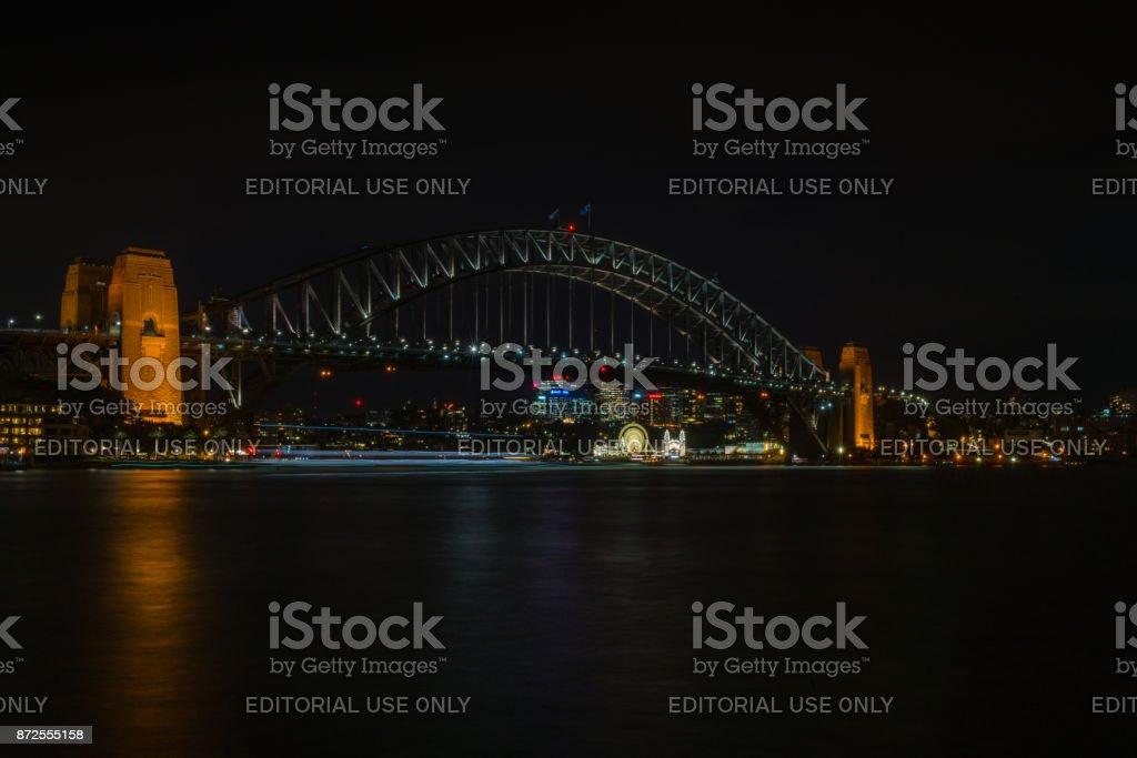 Night photo of Luna Park under Harbour Bridge, Sydney Australia. stock photo