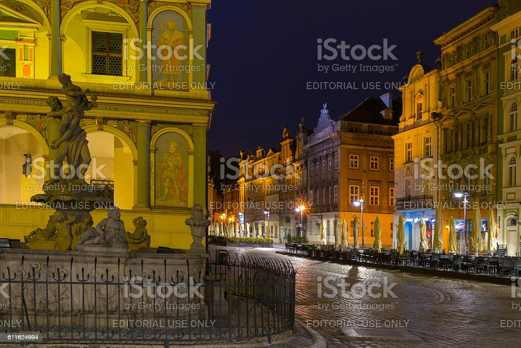Night photo of Poznan Old Town stock photo