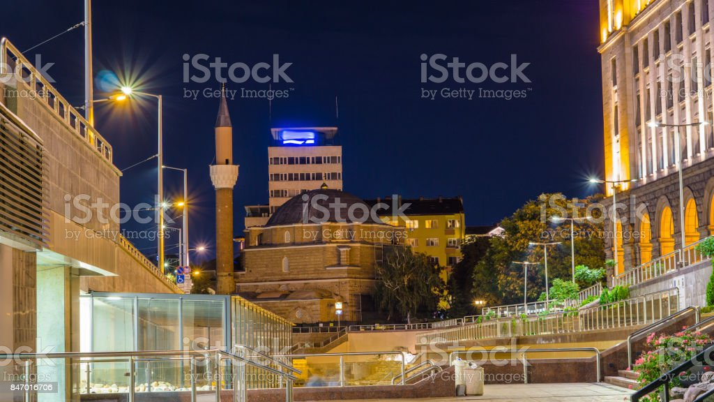 Night photo of ruins of ancient Serdica and Banya Bashi Mosque. Sofia. Bulgaria. stock photo