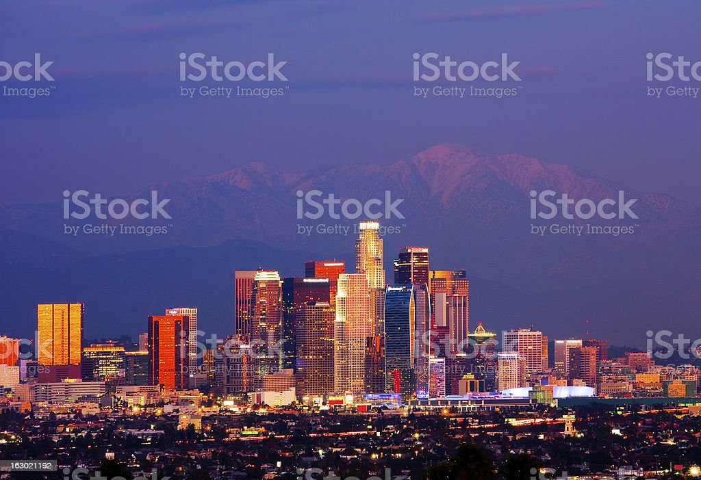 Night photo of the Los Angeles skyline in California royalty-free stock photo