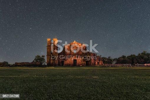 Night photo of the ruins of São Miguel das Missões, Rio Grande do Sul, Brazil
