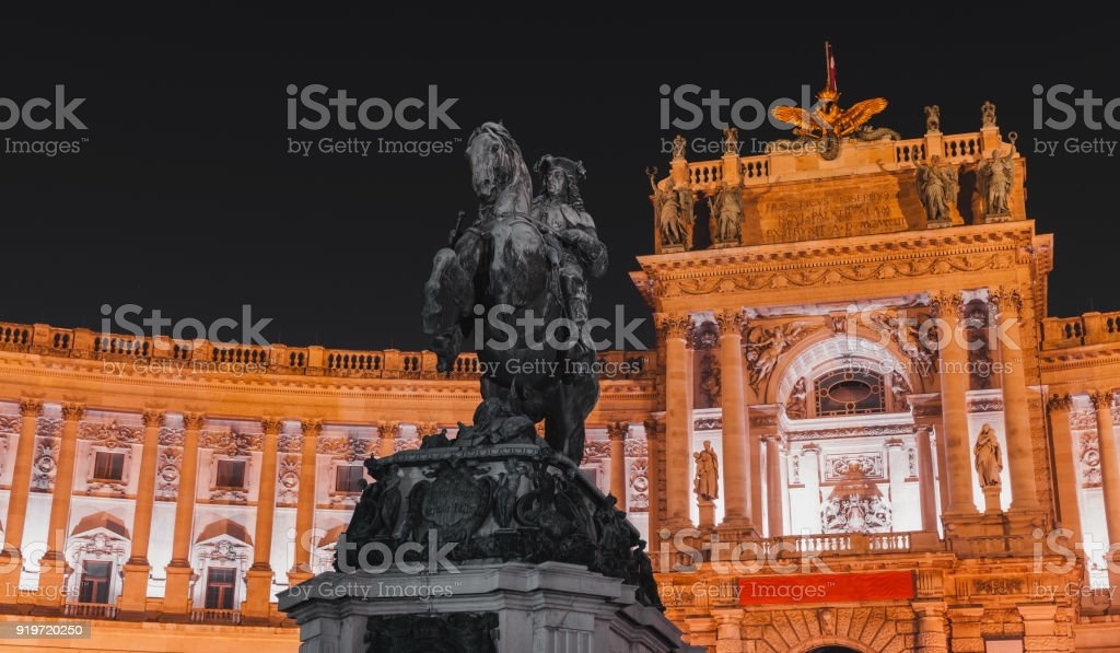 Night photo, Prince Eugene of Savoy statue stock photo
