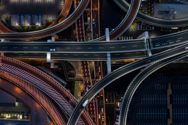 Night photograph of complicated intersecting highway. stock photo