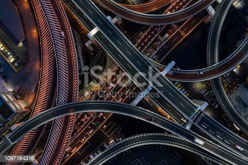 Night highway with streetlights beautiful.