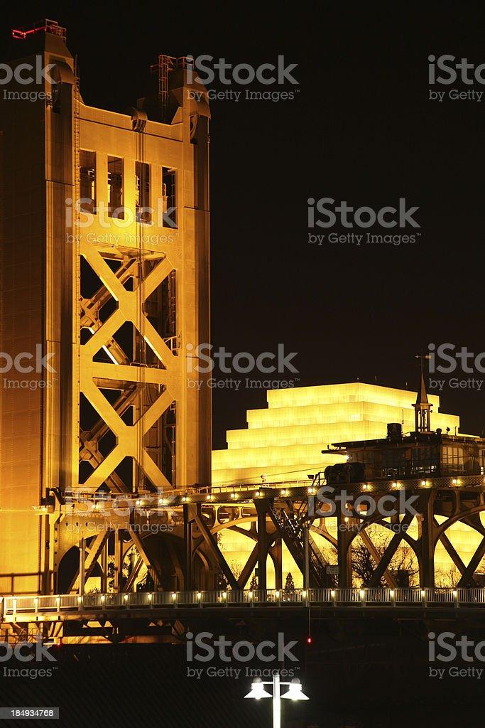 Night photograph of the Sacramento Landmark Bridge stock photo