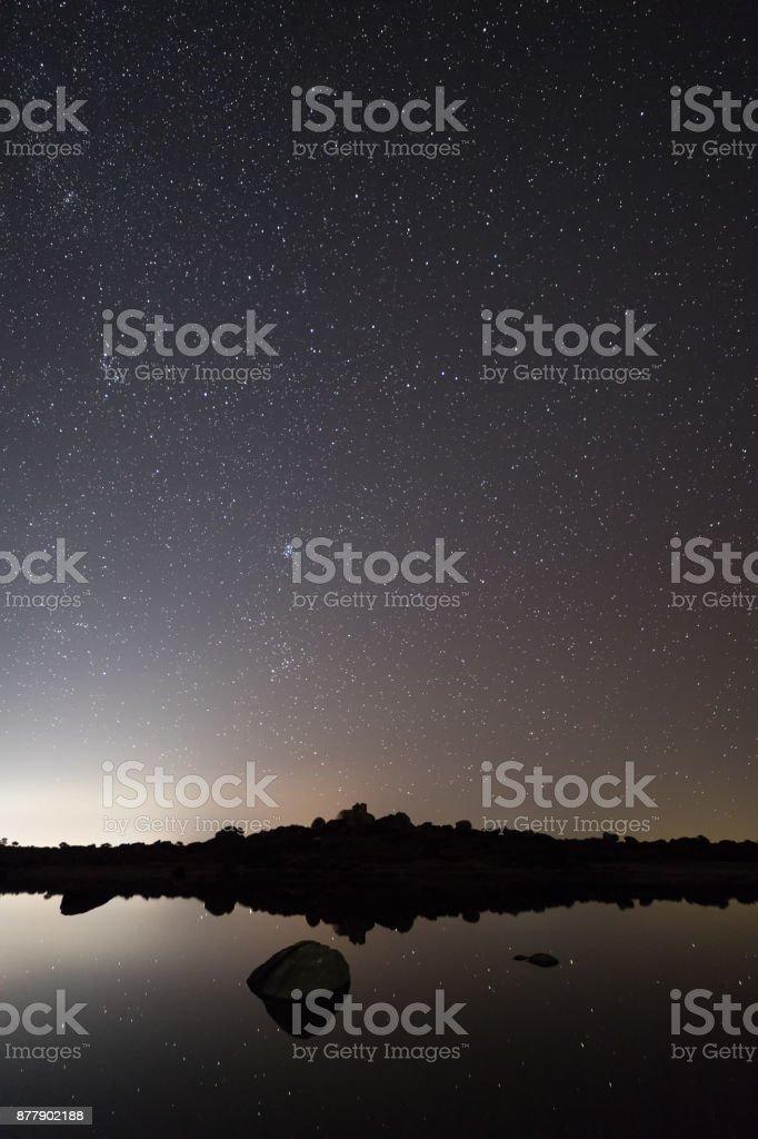 Night photography in Barruecos stock photo